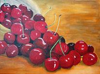 Acrylmalerei, Obst, Stillleben, Kirsche