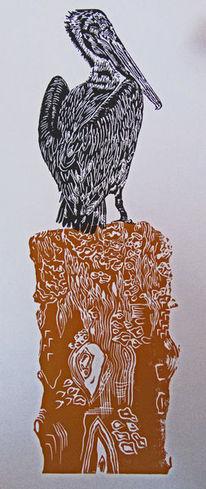 Hochdruck, Linoldruck, Pelikan, Vogel