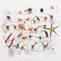 Aquarellmalerei, Zeichnung, Vogel, Blüte