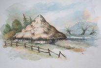 Illustration, Landschaft, Zaun, Scheune