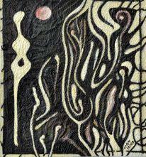 Mischtechnik, Abstrakt, Schwarz, Acrylmalerei