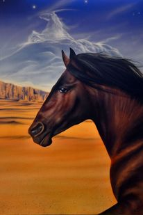 Wolkenpferd, Wüste, Pferde, Fantasie