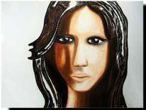 Frau, Augen, Portrait, Spiegel