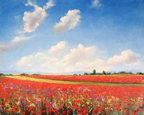 Mohnfeld, Malerei, Sommer