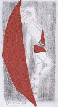 Collage, Tanz, Mischtechnik, Figur