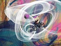 Eiskugel, Fliegende, Leuchtkraft, Digitale kunst