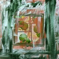 Fenster, Draußen, Malerei, Blumen