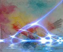 Fraktalkunst, Blitz, Wasser, Digitale kunst