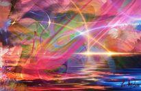 Sonnenuntergang, Fraktalkunst, Leuchtkraft, Digitale kunst