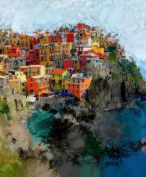 Meer, Häuser, Digitale kunst