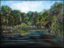 Havel, Ölmalerei, Grob getupft, Malerei