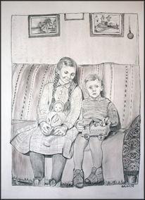 Junge, Puppe, Bleistiftzeichnung, Mädchen