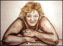 Haarlack, Skizze, Portrait, Sepia