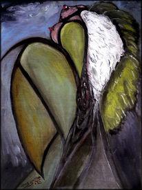 Hintervotzigkeit, Hingabe, Grün, Ölmalerei