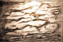 Himmel, Bleistiftzeichnung, Zeichnung, Wolken