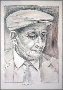 Zeichenkarton, Bleistiftzeichnung, Opi, Portrait