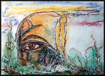Sepia, Ölmalerei, Teilsicht, Farben