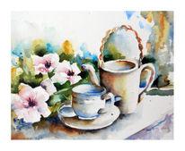 Aquarell, Stillleben, Kaffee, Tee