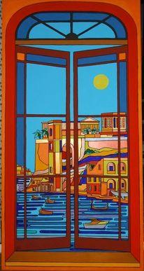 Meer, Fenster, Sonne, Malta