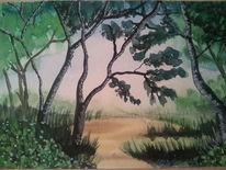 Landschaft in aquarell, Malerei, Landschaft