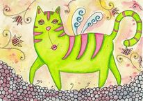 Aquarell, Katze