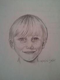 Bleistiftzeichnung, Portrait, Menschen, Junge
