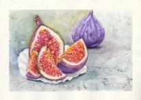 Feige, Früchte, Essen, Aquarell