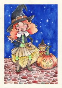 Kürbisse, Halloween, Katze, Hexe