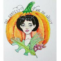 Herbst, Kürbisse, Ernte, Aquarell