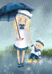 Illustration, Mutter und kind, Regentag, Digitale kunst