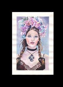 Blumenkranz, Gouachemalerei, Frau, Illustrationen