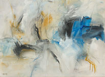 Malerei, Blau, Weiß, Abstrakt