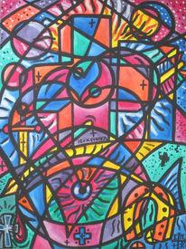 Liebe, Fantasie, Lila, Aquarellmalerei