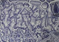 Krieg, Chaos, Kugelschreiber, Blau