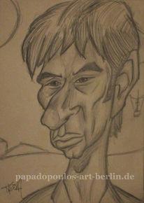 Portrait, Zeichnung, Karikatur, Person