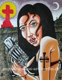 Pistole, Tattoo, Rot schwarz, Comik