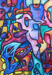 Aquarellmalerei, Reptil, Lila, Blau