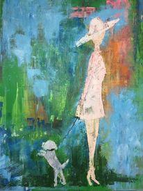 Frau, Gemälde, Hund, Ölmalerei