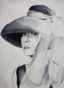 Weiß, Hut, Frauenportrait, Schwarz