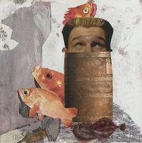 Fisch, Flunder, Mann, Goldfisch