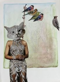 Collage, Frau, Fotomontage, Vogel
