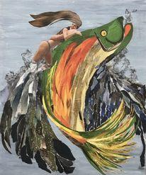 Welle, Fisch, Mädchen, Mischtechnik