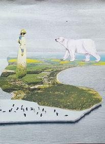 Eisbär, Frau, Pinguin, Insel