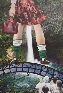 Frau, Fotomontage, Wasserfall, Collage