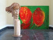 Plastik, Holz skulptur, Roter jokey