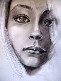Blick, Weiß, Kohlezeichnung, Frau