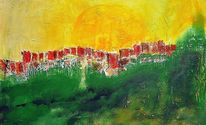 Acrylmalerei, Mauer, Landschaft, Gelb