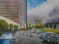 Parkplatz, Hochhaus, Gebäude, Stadt
