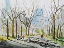 Park, Menschen, Stadtlandschaft, Baum