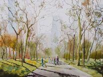 Wolkenkratzer, Baum, Menschen, Park
